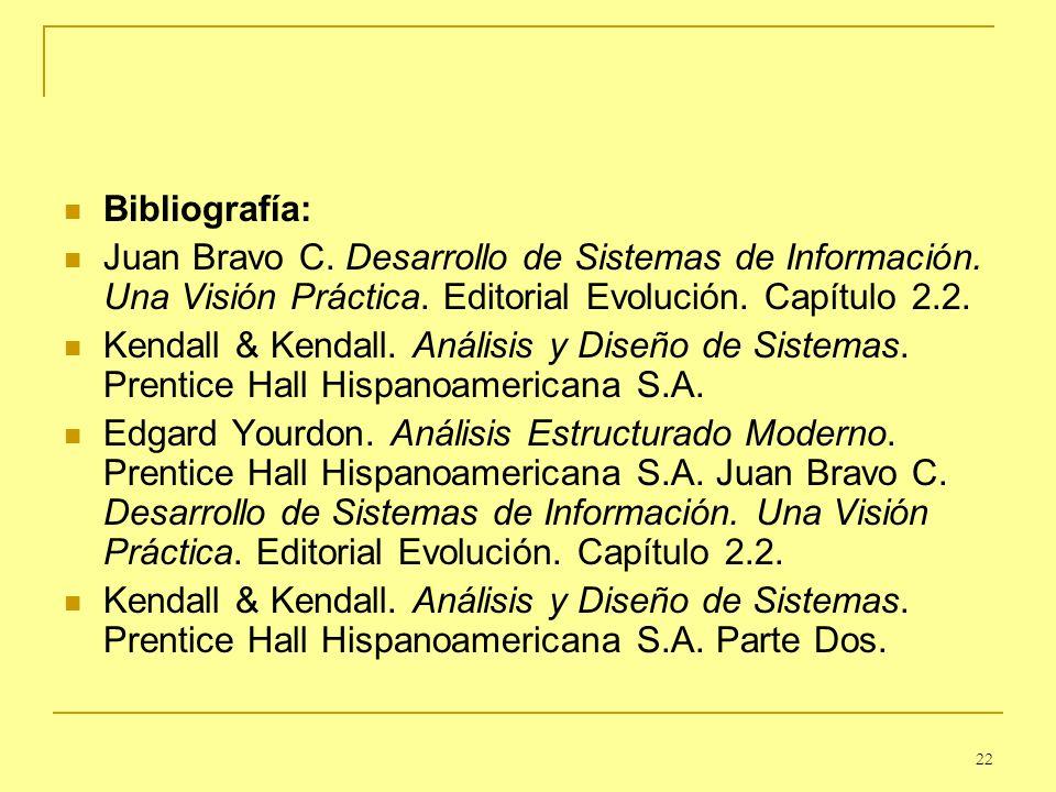 22 Bibliografía: Juan Bravo C. Desarrollo de Sistemas de Información. Una Visión Práctica. Editorial Evolución. Capítulo 2.2. Kendall & Kendall. Análi