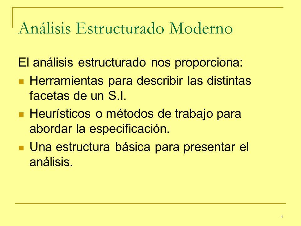 4 Análisis Estructurado Moderno El análisis estructurado nos proporciona: Herramientas para describir las distintas facetas de un S.I. Heurísticos o m