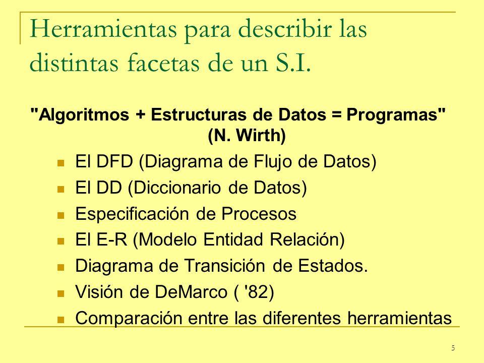 6 El DFD (Diagrama de Flujo de Datos) Tiene por objetivo el describir como fluye la información por el sistema. Desde donde entra la información al sistema.