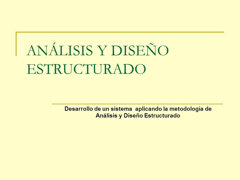 ANÁLISIS Y DISEÑO ESTRUCTURADO Desarrollo de un sistema aplicando la metodología de Análisis y Diseño Estructurado