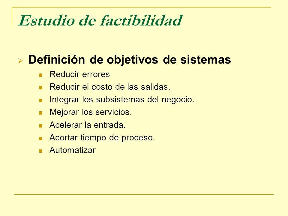 Estudio de factibilidad Definición de objetivos de sistemas Reducir errores Reducir el costo de las salidas. Integrar los subsistemas del negocio. Mej