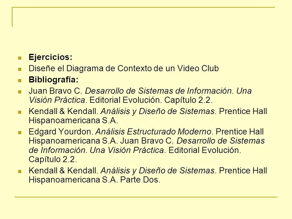 Ejercicios: Diseñe el Diagrama de Contexto de un Video Club Bibliografía: Juan Bravo C. Desarrollo de Sistemas de Información. Una Visión Práctica. Ed