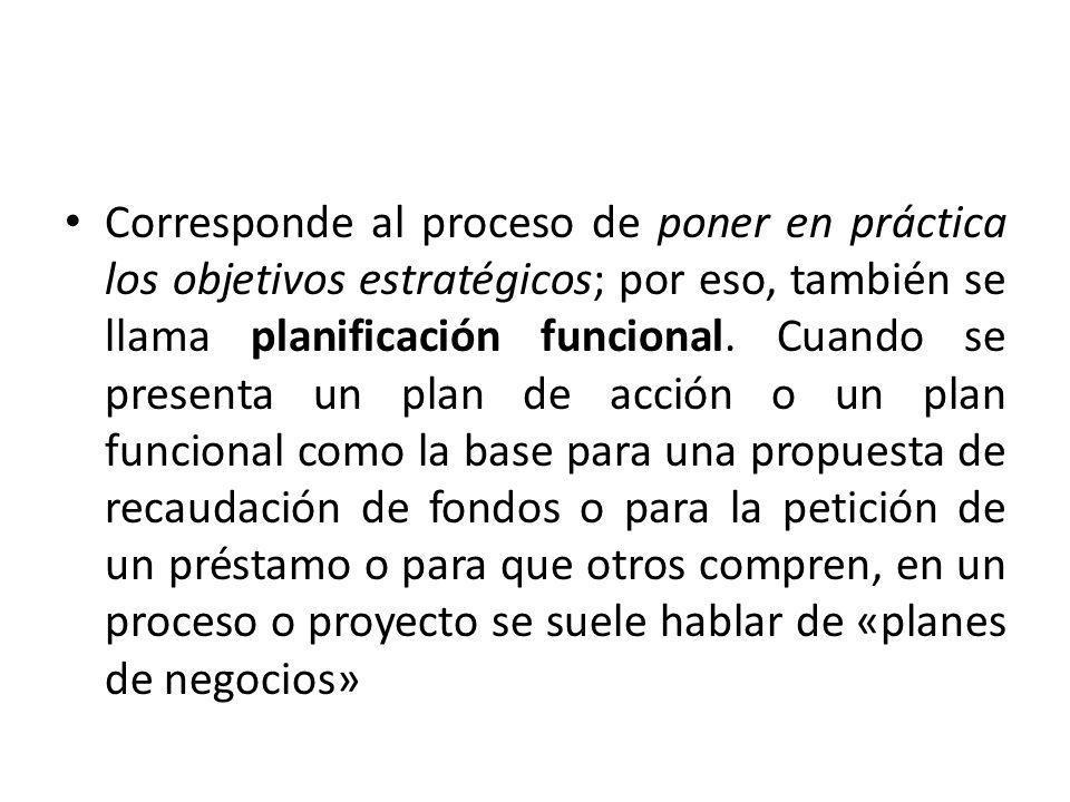 La mayoría de los planes de acción consisten en los siguientes elementos: Una declaración de lo que se debe lograr (la producción o los resultados que surgen del proceso de planificación estratégica).