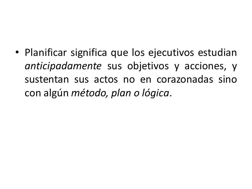 Los planes establecen los objetivos de la organización y definen los procedimientos adecuados para alcanzarlos.