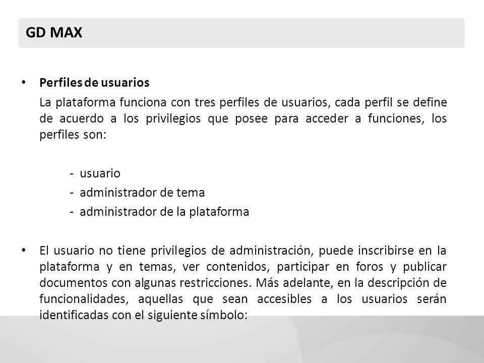 GD MAX Perfiles de usuarios La plataforma funciona con tres perfiles de usuarios, cada perfil se define de acuerdo a los privilegios que posee para ac