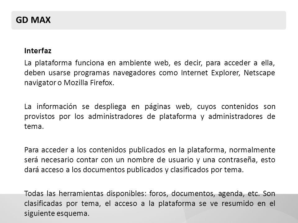 GD MAX Interfaz La plataforma funciona en ambiente web, es decir, para acceder a ella, deben usarse programas navegadores como Internet Explorer, Netscape navigator o Mozilla Firefox.