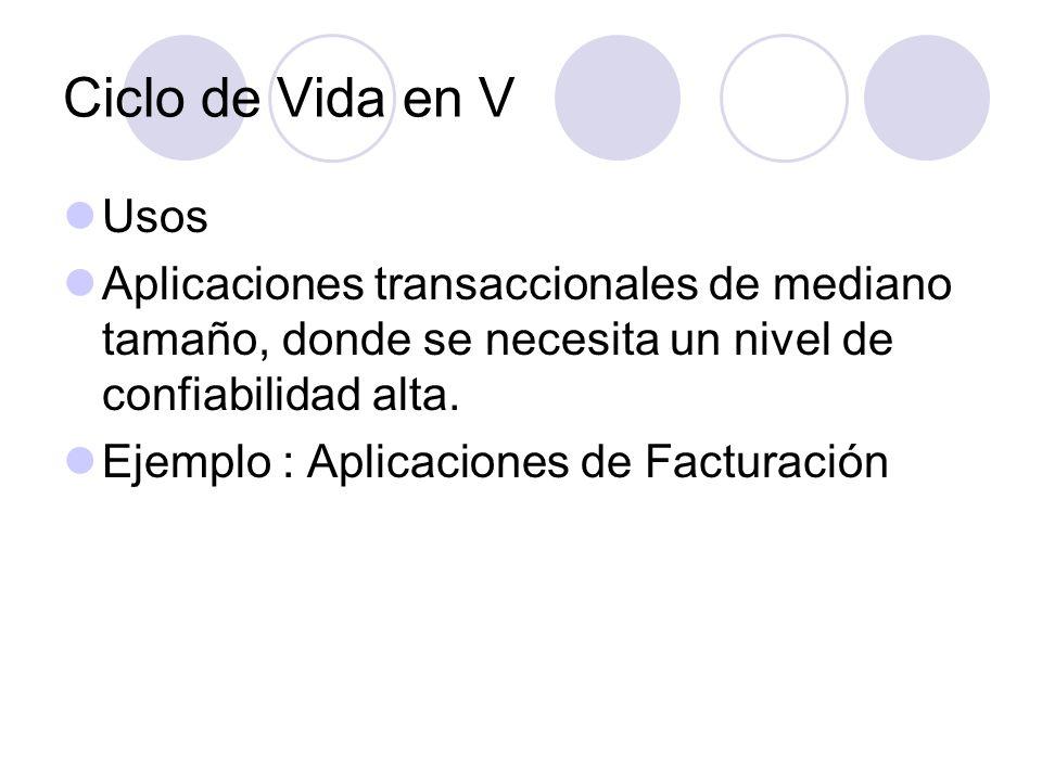 Ciclo de Vida en V Usos Aplicaciones transaccionales de mediano tamaño, donde se necesita un nivel de confiabilidad alta. Ejemplo : Aplicaciones de Fa