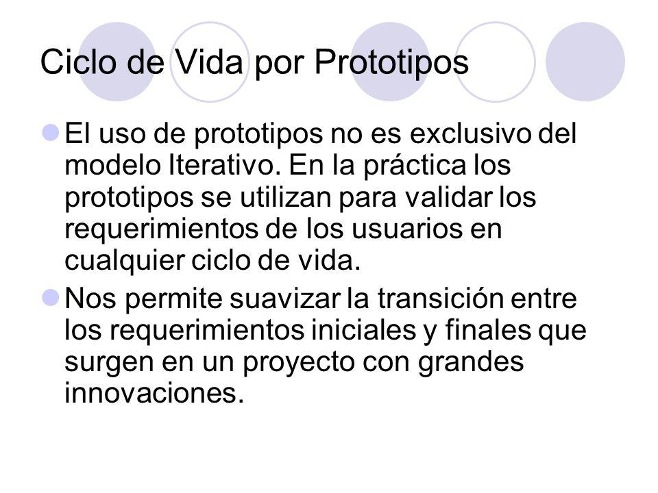 El uso de prototipos no es exclusivo del modelo Iterativo. En la práctica los prototipos se utilizan para validar los requerimientos de los usuarios e