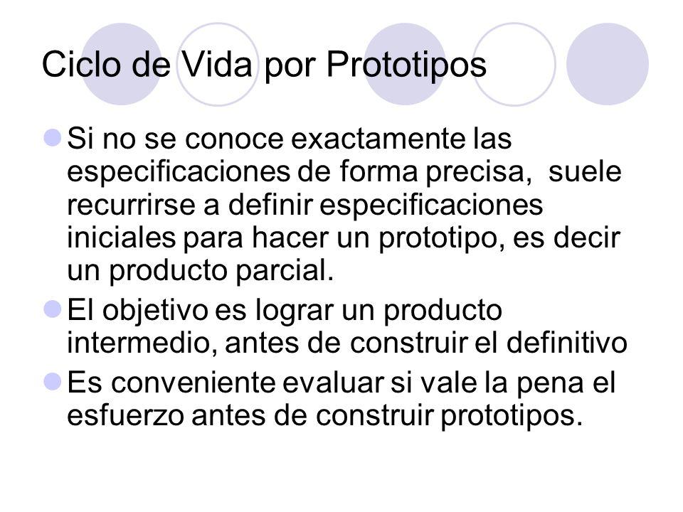 Ciclo de Vida por Prototipos Si no se conoce exactamente las especificaciones de forma precisa, suele recurrirse a definir especificaciones iniciales