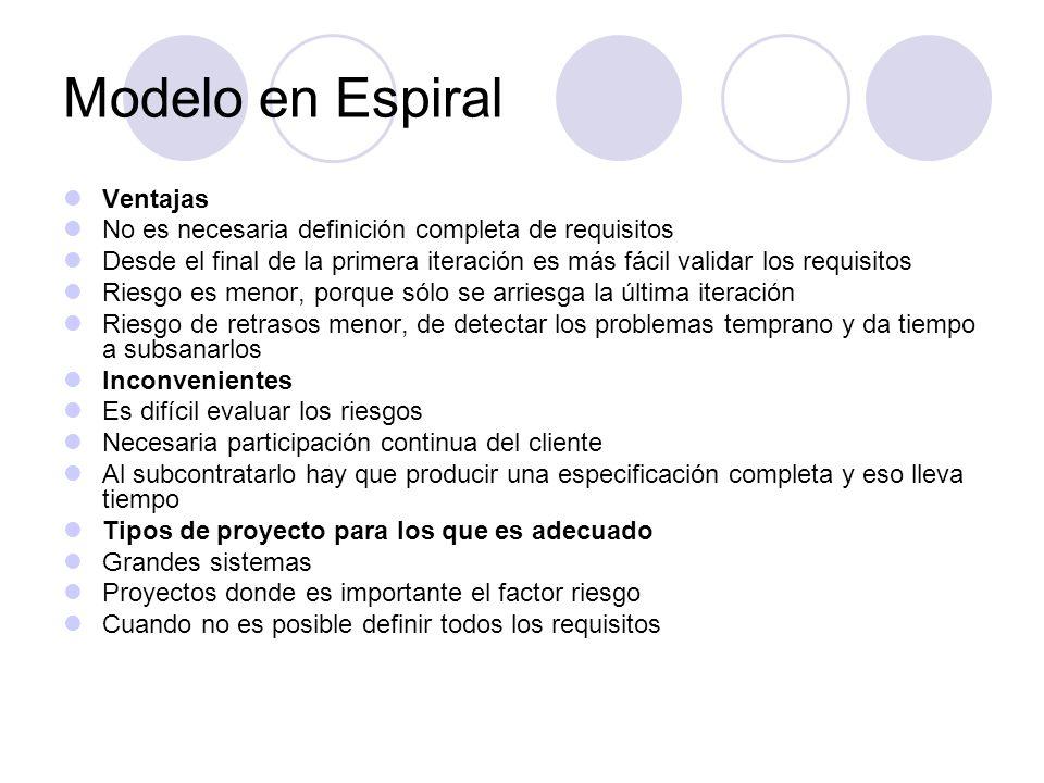 Modelo en Espiral Ventajas No es necesaria definición completa de requisitos Desde el final de la primera iteración es más fácil validar los requisito