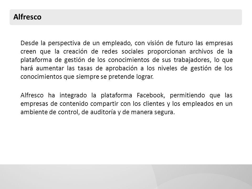Alfresco Desde la perspectiva de un empleado, con visión de futuro las empresas creen que la creación de redes sociales proporcionan archivos de la pl