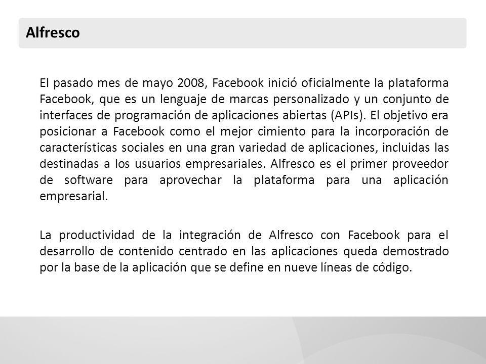 Alfresco El pasado mes de mayo 2008, Facebook inició oficialmente la plataforma Facebook, que es un lenguaje de marcas personalizado y un conjunto de interfaces de programación de aplicaciones abiertas (APIs).