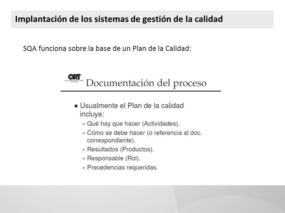 SQA funciona sobre la base de un Plan de la Calidad: