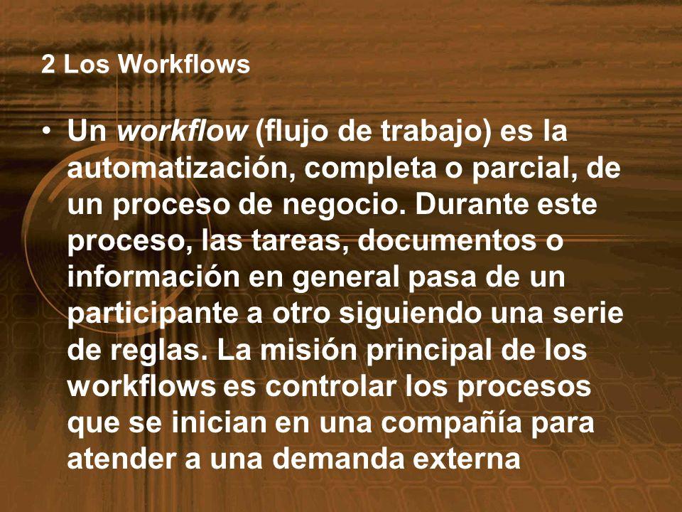 2 Los Workflows Un workflow (flujo de trabajo) es la automatización, completa o parcial, de un proceso de negocio. Durante este proceso, las tareas, d