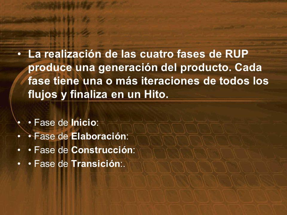 La realización de las cuatro fases de RUP produce una generación del producto. Cada fase tiene una o más iteraciones de todos los flujos y finaliza en