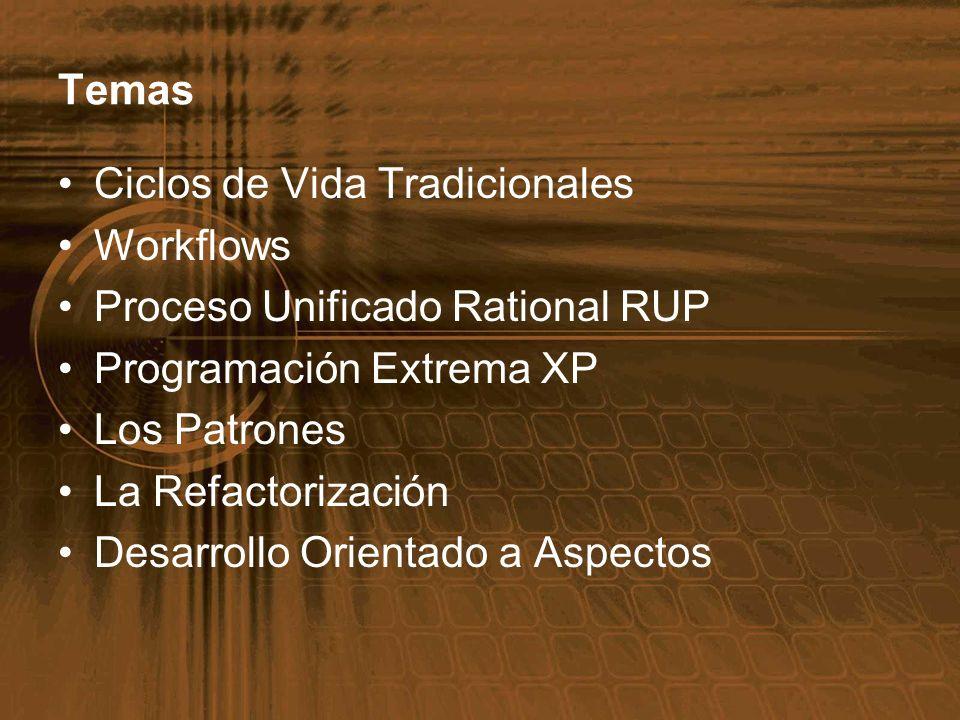 Temas Ciclos de Vida Tradicionales Workflows Proceso Unificado Rational RUP Programación Extrema XP Los Patrones La Refactorización Desarrollo Orienta