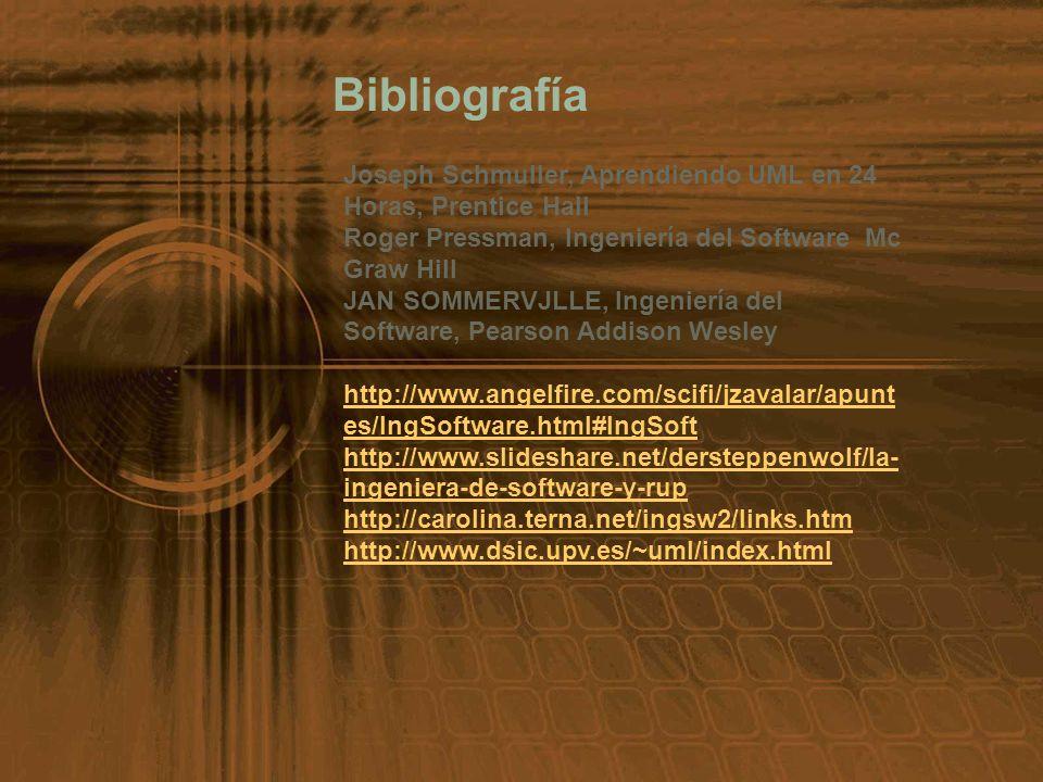 Bibliografía Joseph Schmuller, Aprendiendo UML en 24 Horas, Prentice Hall Roger Pressman, Ingeniería del Software Mc Graw Hill JAN SOMMERVJLLE, Ingeni