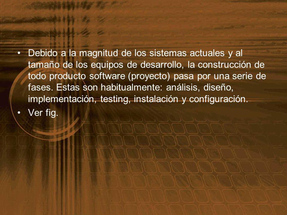Debido a la magnitud de los sistemas actuales y al tamaño de los equipos de desarrollo, la construcción de todo producto software (proyecto) pasa por