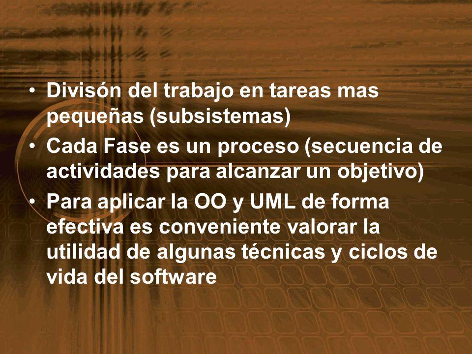 Divisón del trabajo en tareas mas pequeñas (subsistemas) Cada Fase es un proceso (secuencia de actividades para alcanzar un objetivo) Para aplicar la