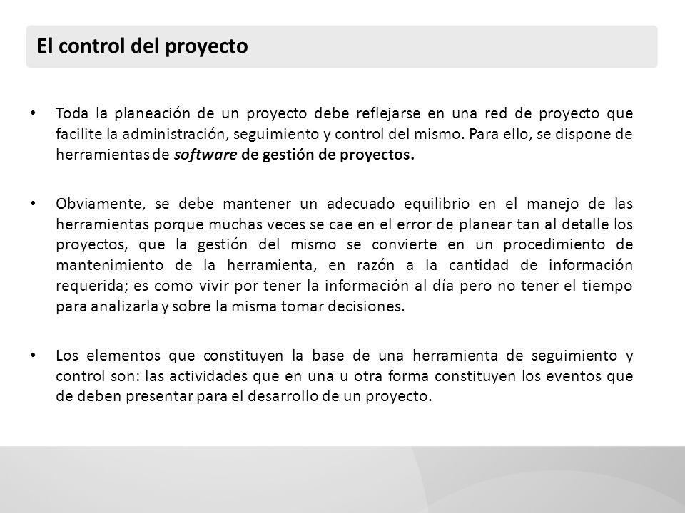 El control del proyecto El proyecto en su esencia de planeación se controla por su cumplimiento de objetivos, y a su vez el cumplimiento de objetivos por el cumplimiento de las actividades necesarias para su logro.