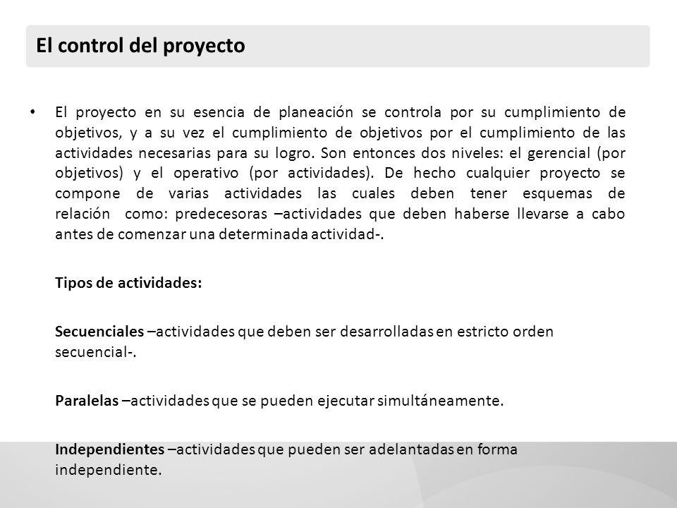 El control del proyecto El proyecto en su esencia de planeación se controla por su cumplimiento de objetivos, y a su vez el cumplimiento de objetivos