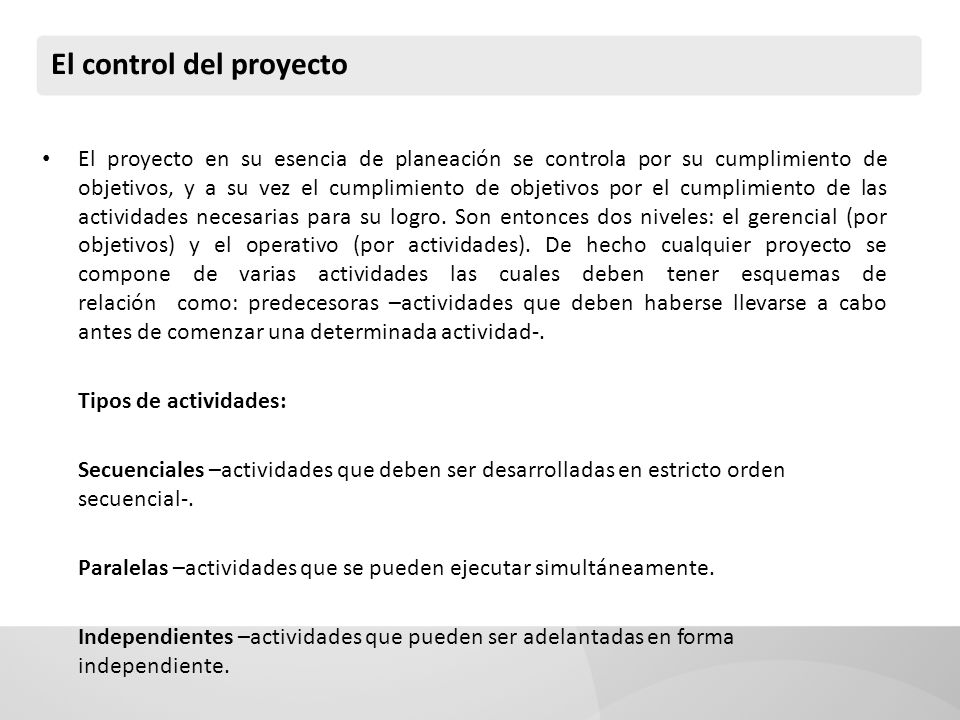 GANTT La Carta Gantt es un sistema de cronograma del proyecto.