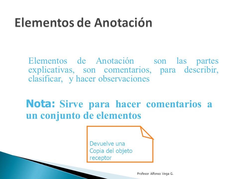 Elementos de Anotación son las partes explicativas, son comentarios, para describir, clasificar, y hacer observaciones Profesor Alfonso Vega G. Nota: