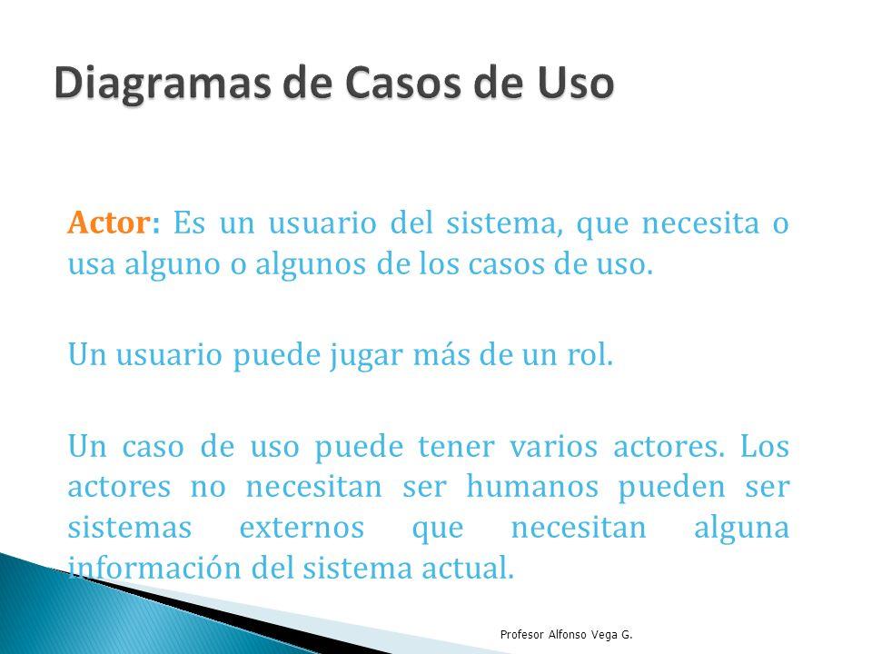 Actor: Es un usuario del sistema, que necesita o usa alguno o algunos de los casos de uso. Un usuario puede jugar más de un rol. Un caso de uso puede