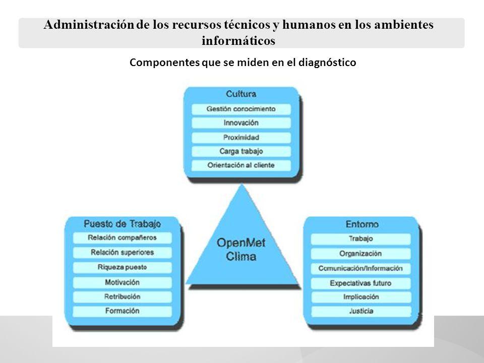 Administración de los recursos técnicos y humanos en los ambientes informáticos Componentes que se miden en el diagnóstico
