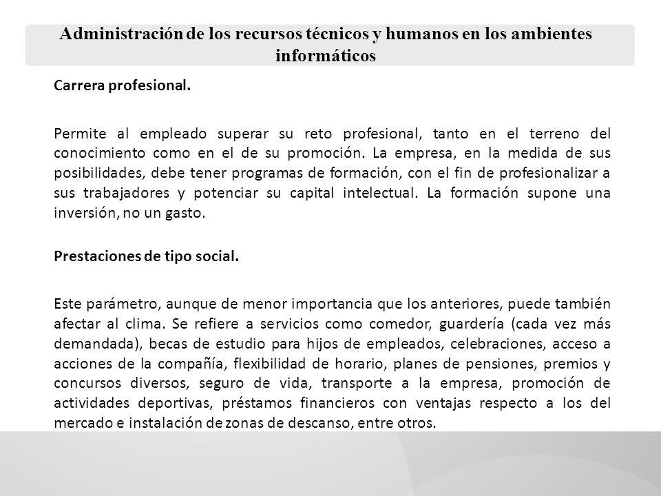 Administración de los recursos técnicos y humanos en los ambientes informáticos Carrera profesional.