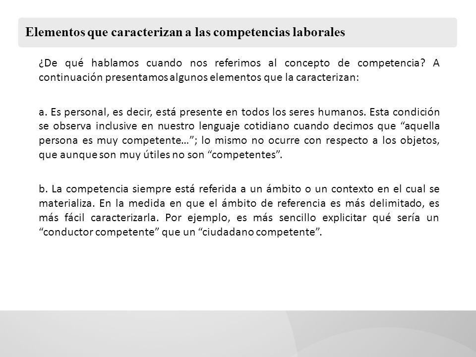 Elementos que caracterizan a las competencias laborales ¿De qué hablamos cuando nos referimos al concepto de competencia? A continuación presentamos a