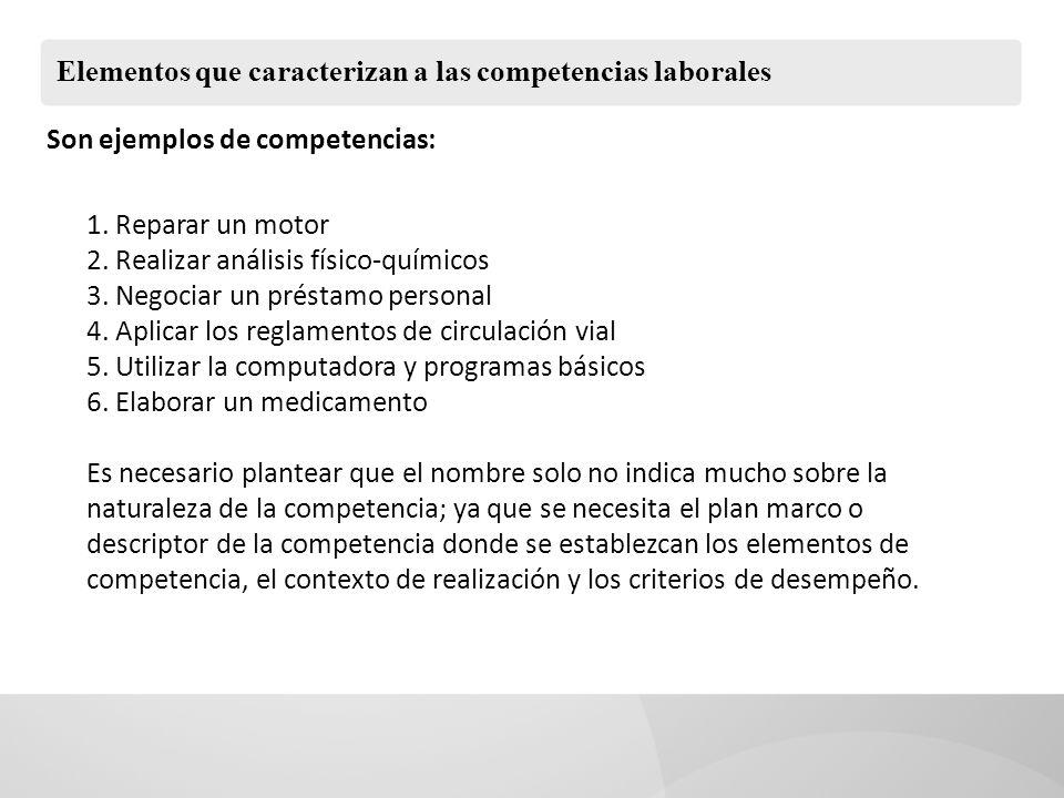 Elementos que caracterizan a las competencias laborales Son ejemplos de competencias: 1. Reparar un motor 2. Realizar análisis físico-químicos 3. Nego