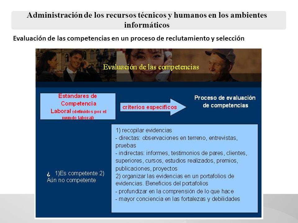 Administración de los recursos técnicos y humanos en los ambientes informáticos Evaluaciones de desempeño La evaluación de desempeño procura identificar los déficit que los trabajadores pueden tener en la ejecución de sus funciones y tareas.