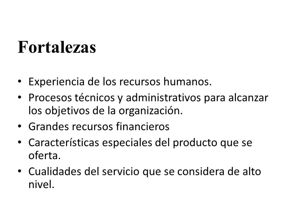 Fortalezas Experiencia de los recursos humanos. Procesos técnicos y administrativos para alcanzar los objetivos de la organización. Grandes recursos f