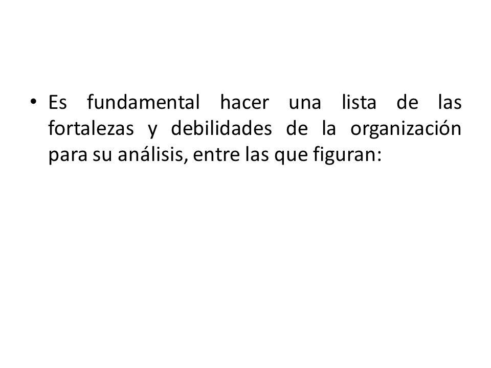 Es fundamental hacer una lista de las fortalezas y debilidades de la organización para su análisis, entre las que figuran: