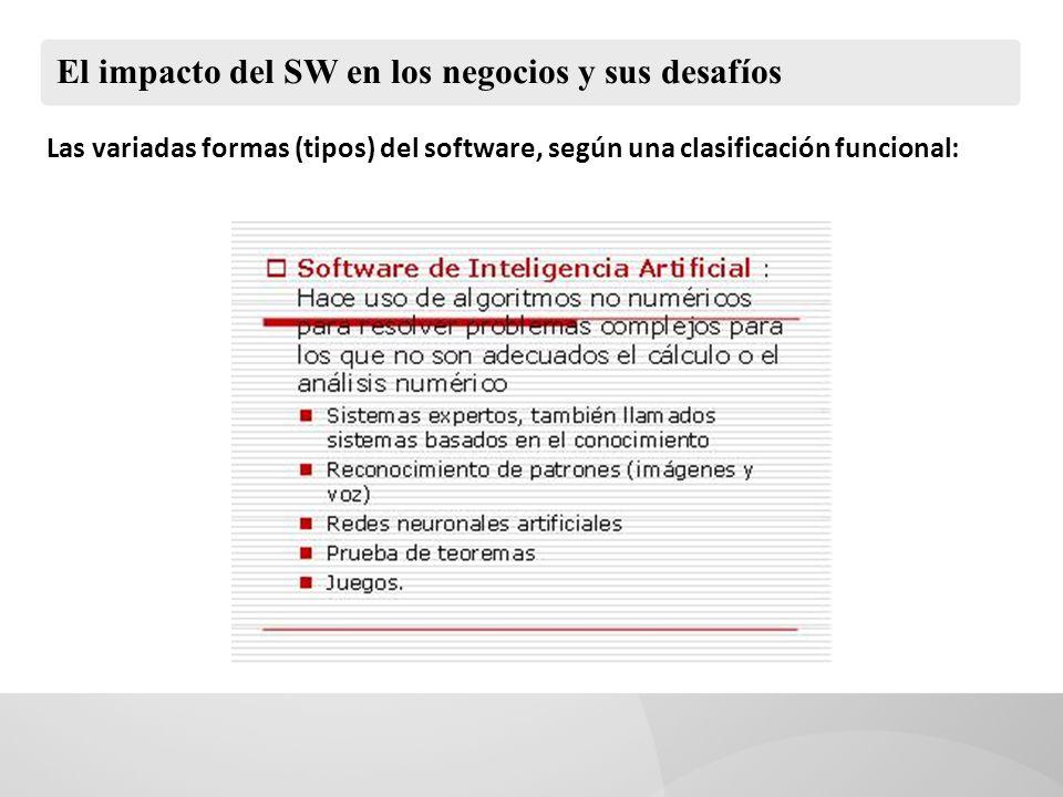 El impacto del SW en los negocios y sus desafíos Las variadas formas (tipos) del software, según una clasificación funcional: