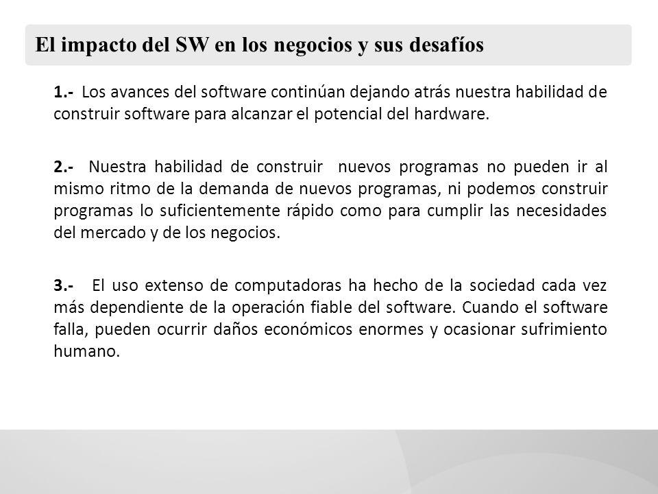 El impacto del SW en los negocios y sus desafíos 4.- Luchamos por construir software informático que tengan fiabilidad y alta calidad.
