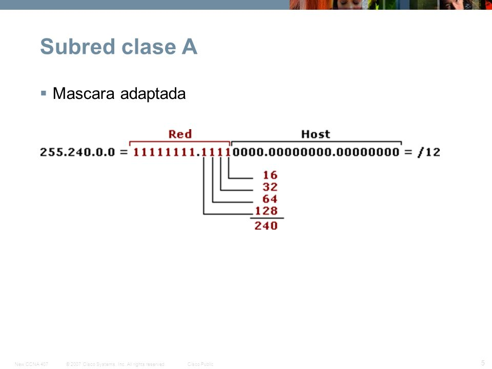 © 2007 Cisco Systems, Inc. All rights reserved.Cisco PublicNew CCNA 407 5 Subred clase A Mascara adaptada