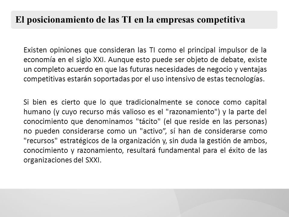 El posicionamiento de las TI en la empresas competitiva Existen opiniones que consideran las TI como el principal impulsor de la economía en el siglo XXI.