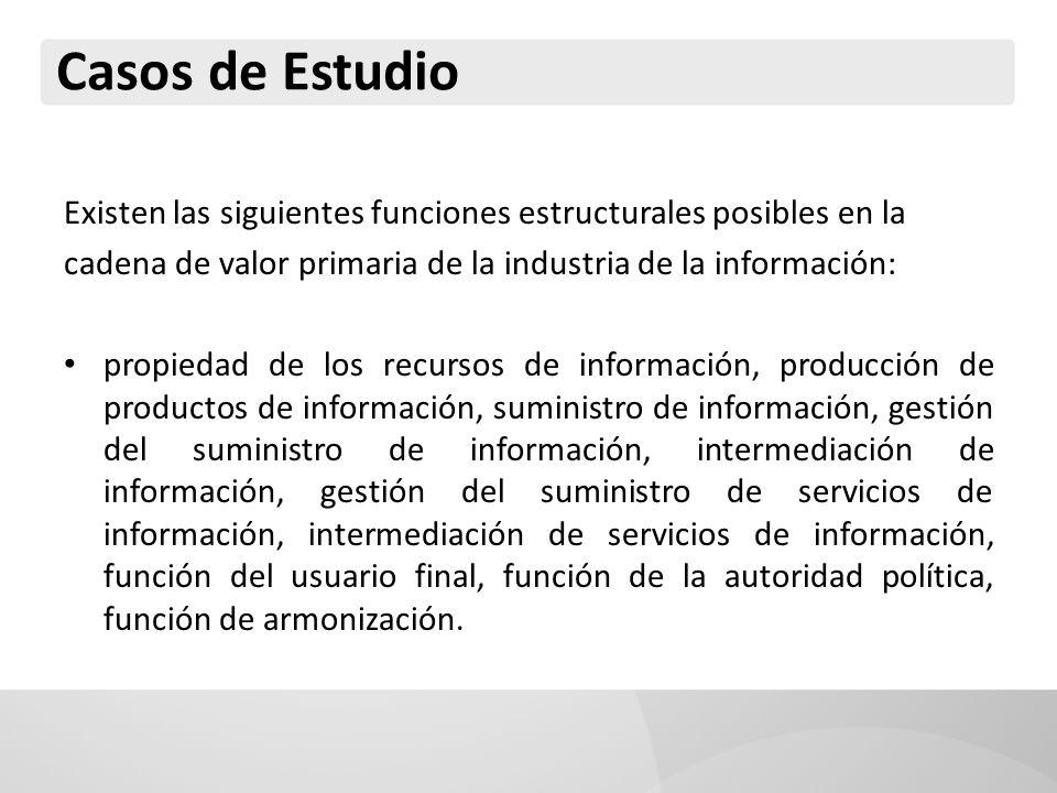 Existen las siguientes funciones estructurales posibles en la cadena de valor primaria de la industria de la información: propiedad de los recursos de