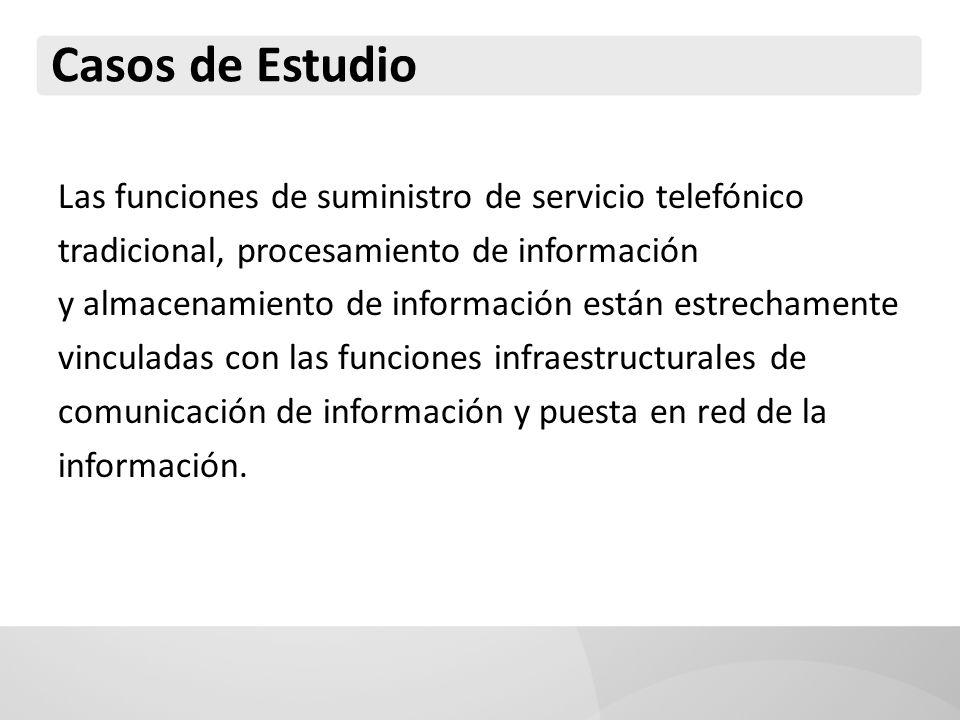 Casos de Estudio Las funciones de suministro de servicio telefónico tradicional, procesamiento de información y almacenamiento de información están es