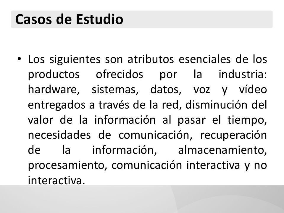 Los siguientes son atributos esenciales de los productos ofrecidos por la industria: hardware, sistemas, datos, voz y vídeo entregados a través de la