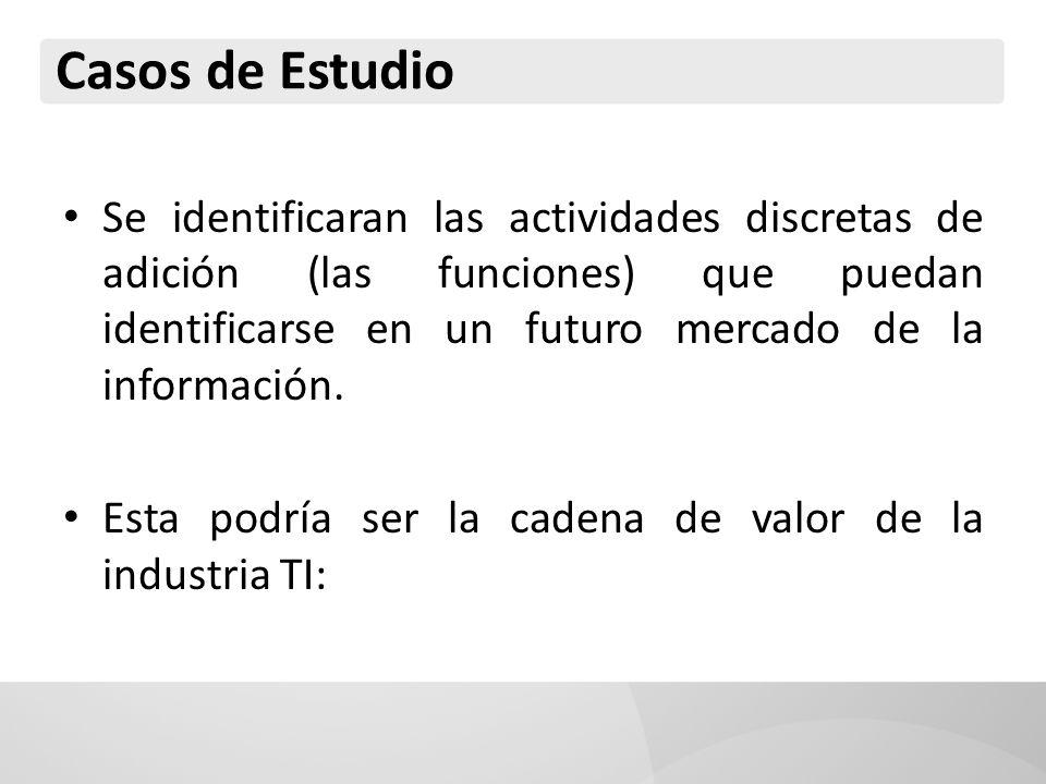 Casos de Estudio Se identificaran las actividades discretas de adición (las funciones) que puedan identificarse en un futuro mercado de la información