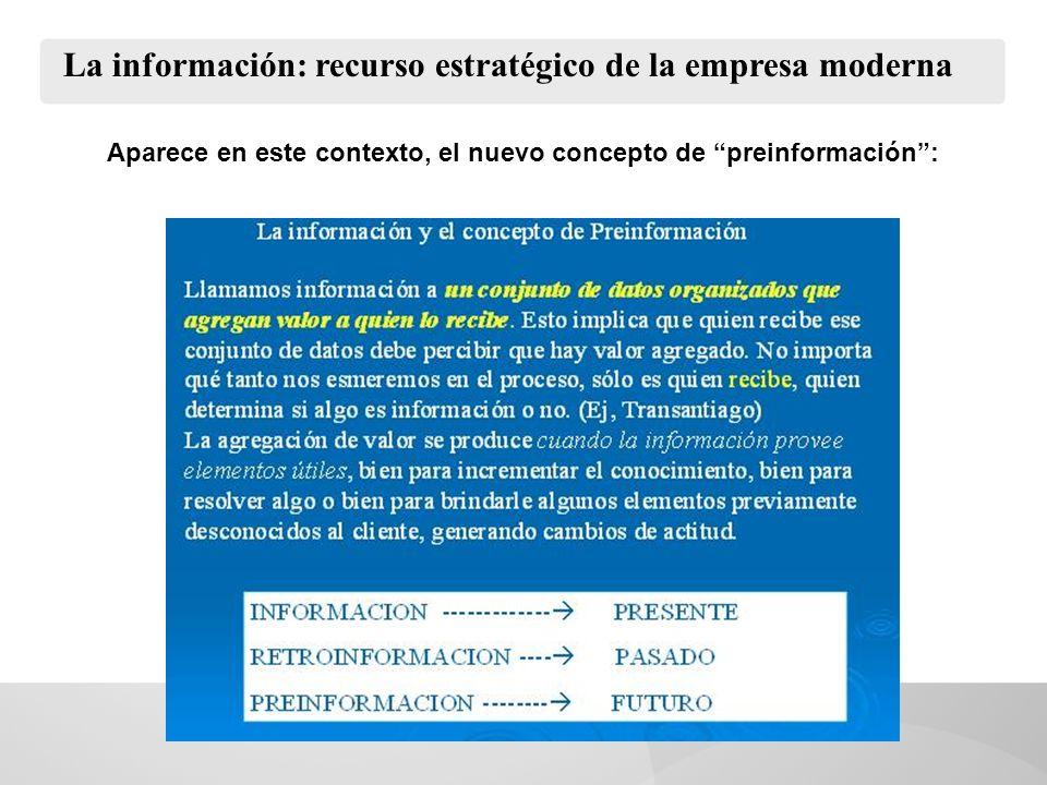 La información: recurso estratégico de la empresa moderna Aparece en este contexto, el nuevo concepto de preinformación: