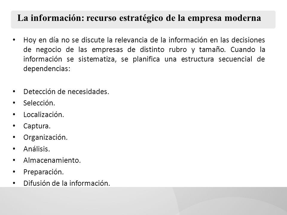 La información: recurso estratégico de la empresa moderna Por ello, el primer nivel de la planificación es la identificación de las necesidades de información de los usuarios del sistema.