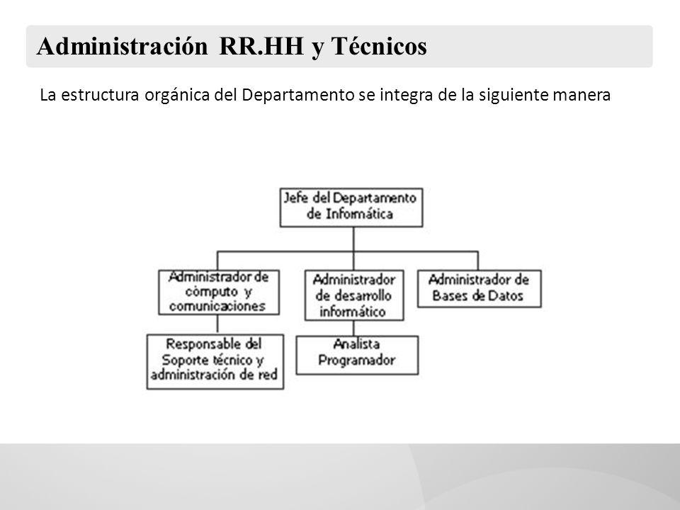 Administración RR.HH y Técnicos La estructura orgánica del Departamento se integra de la siguiente manera