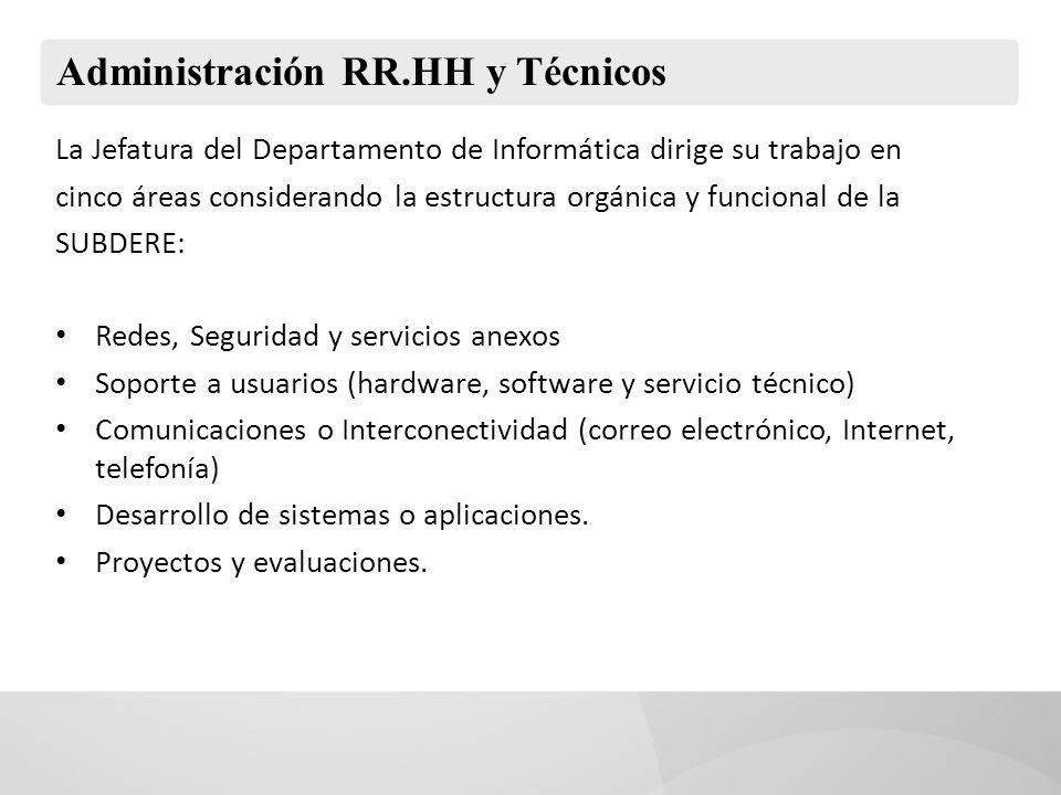 Administración RR.HH y Técnicos La Jefatura del Departamento de Informática dirige su trabajo en cinco áreas considerando la estructura orgánica y fun