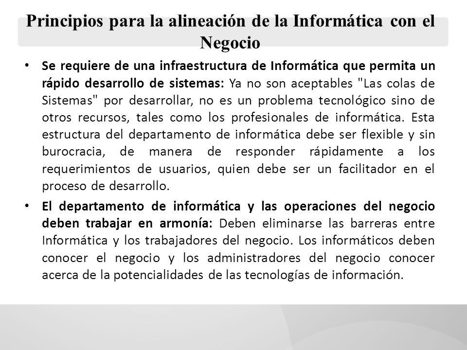 Principios para la alineación de la Informática con el Negocio Se requiere de una infraestructura de Informática que permita un rápido desarrollo de s