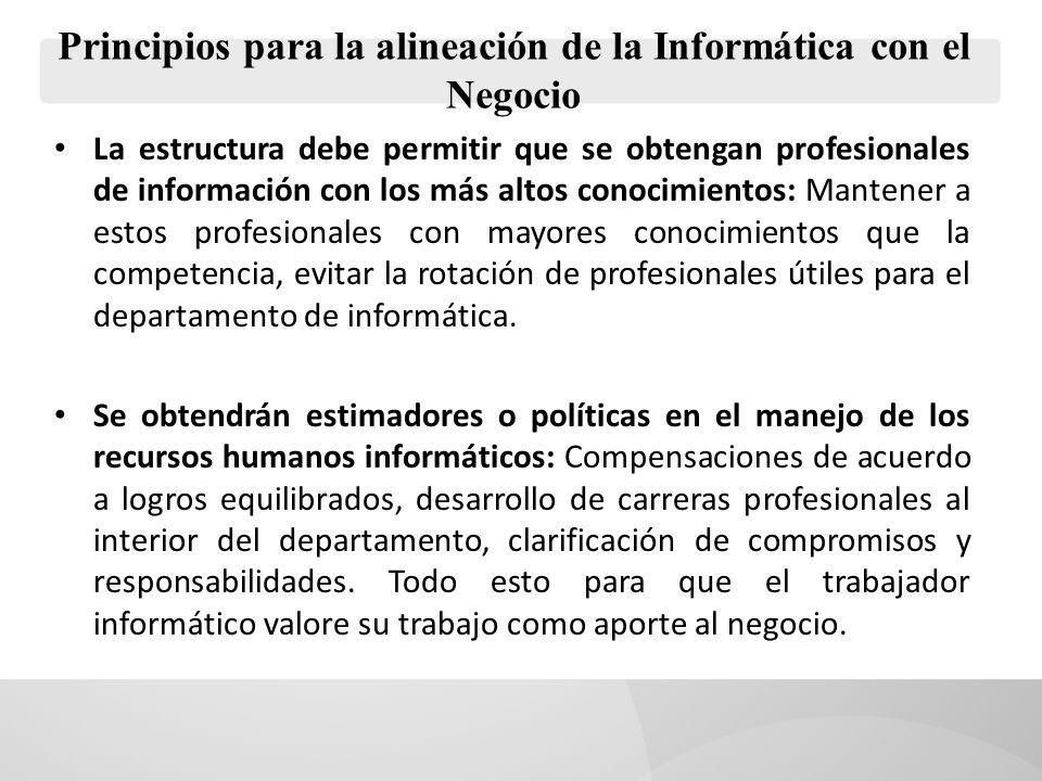 Principios para la alineación de la Informática con el Negocio La estructura debe permitir que se obtengan profesionales de información con los más al