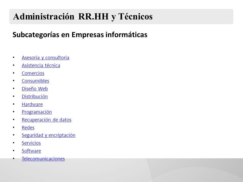 Administración RR.HH y Técnicos Subcategorías en Empresas informáticas Asesoria y consultoria Asistencia técnica Comercios Consumibles Diseño Web Dist